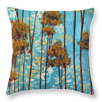 Stunning Abstract Landscape Elegant Trees Floating Dreams II By Megan Duncanson Throw Pillow by Megan Duncanson