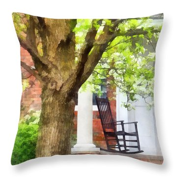 Suburbs - Rocking Chair On Porch Throw Pillow by Susan Savad