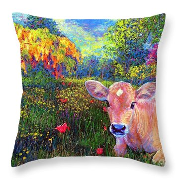 Such A Contented Cow Throw Pillow by Jane Small