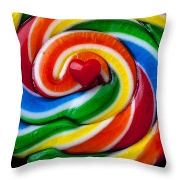Sucker Heart Throw Pillow by Garry Gay