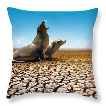 Suffering Seals Throw Pillow by Carlos Caetano