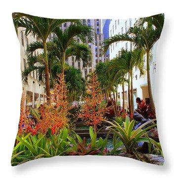 Summer At Rockefeller Center Throw Pillow by Dora Sofia Caputo Photographic Art and Design