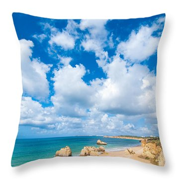 Summer Beach Algarve Portugal Throw Pillow by Amanda Elwell
