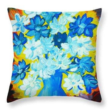 Summer Daisies Throw Pillow by Ramona Matei