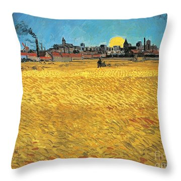 Summer Evening Wheat Field At Sunset Throw Pillow by Vincent van Gogh