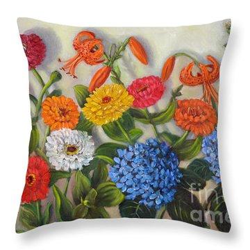 Summer Flowers Throw Pillow by Randol Burns