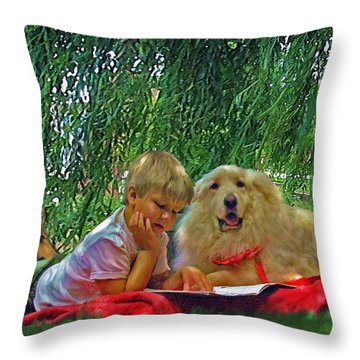 Summer Reading Throw Pillow by Jane Schnetlage