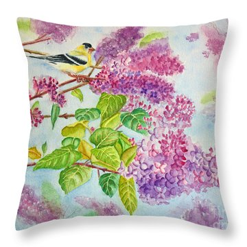 Summertime Arrival II - Goldfinch And Lilacs Throw Pillow by Kathryn Duncan