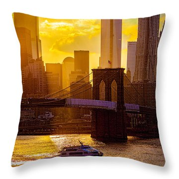 Summertime At The Brooklyn Bridge Throw Pillow by Chris Lord