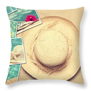 Summertime Postcards Throw Pillow by Amanda Elwell