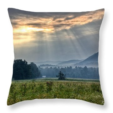 Sunburst Over Cades Cove Throw Pillow by Douglas Stucky