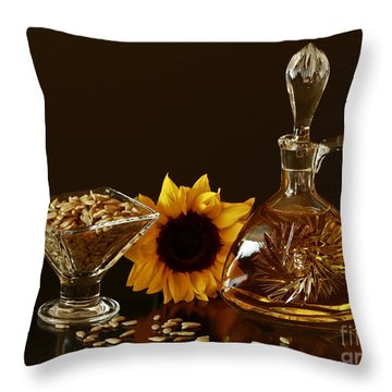 Sunflower And Crystal Throw Pillow by Inspired Nature Photography Fine Art Photography