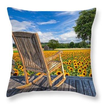 Sunflower Farm Throw Pillow by Debra and Dave Vanderlaan