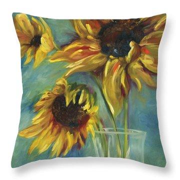 Sunflowers Throw Pillow by Chris Brandley