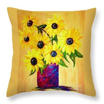 Sunflowers In A Red Pot Throw Pillow by Eloise Schneider
