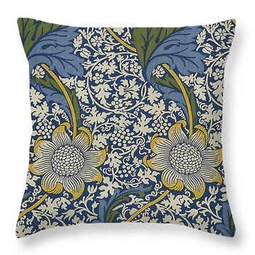 Sunflowers On Blue Pattern Throw Pillow by William Morris