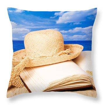 Sunhat In Sand Throw Pillow by Amanda Elwell