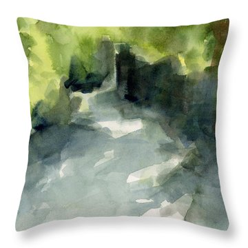 Sunlight And Foliage Conservatory Garden Central Park Watercolor Painting Throw Pillow by Beverly Brown Prints