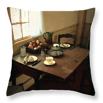 Sunlight On Dining Table Throw Pillow by RC deWinter