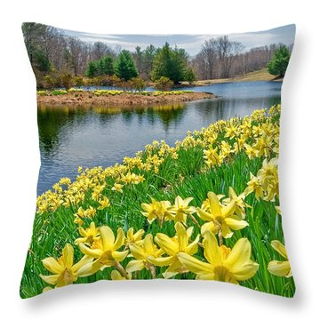 Sunny Daffodil Throw Pillow by Bill Wakeley