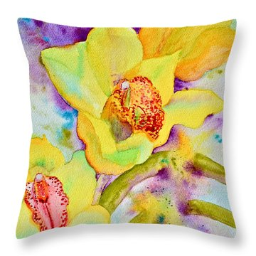 Sunny Splash Of Orchids Throw Pillow by Beverley Harper Tinsley
