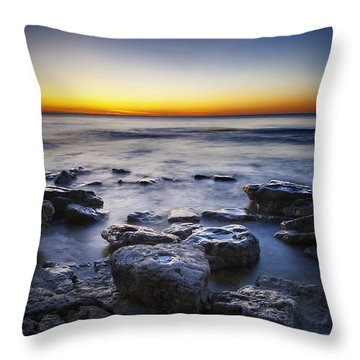 Sunrise At Cave Point Throw Pillow by Scott Norris