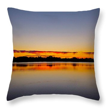 Sunrise On Riviere Des Mille-iles Throw Pillow by Juergen Weiss