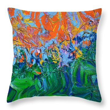 Sunrise Over Stormy Seas Throw Pillow by Donna Blackhall