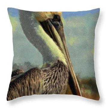 Sunrise Pelican Throw Pillow by Ernie Echols