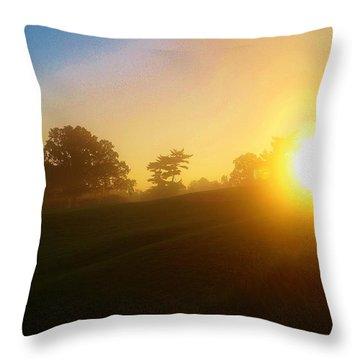 Sunrising Over The Club House Throw Pillow by Daniel Thompson