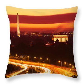 Sunset, Aerial, Washington Dc, District Throw Pillow by Panoramic Images