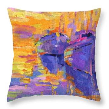Sunset And Boats Throw Pillow by Svetlana Novikova