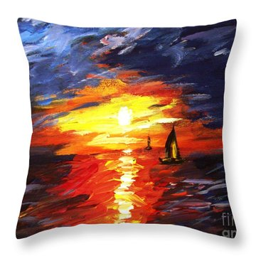 Sunset And Sails Throw Pillow by Michael Grubb