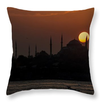 Sunset At Historical Peninsula In Istanbul Throw Pillow by Ayhan Altun