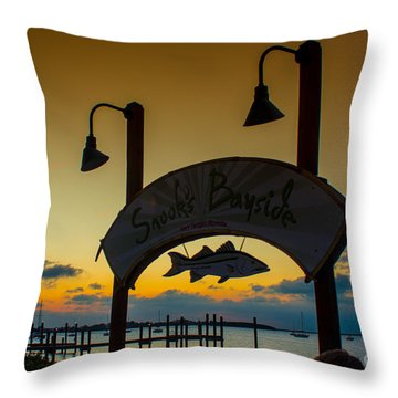Sunset At Snooks Bayside Throw Pillow by Rene Triay Photography