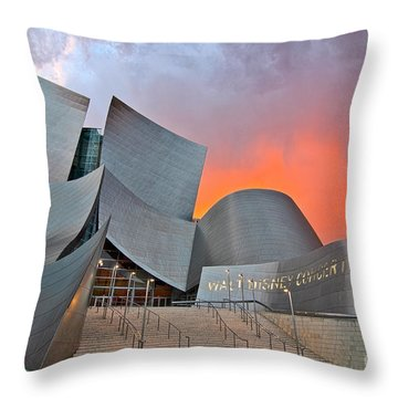 Sunset At The Walt Disney Concert Hall In Downtown Los Angeles. Throw Pillow by Jamie Pham