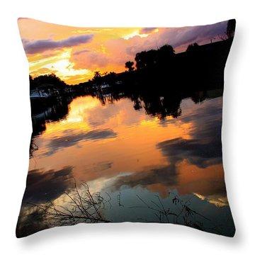 Sunset Bay Throw Pillow by AR Annahita