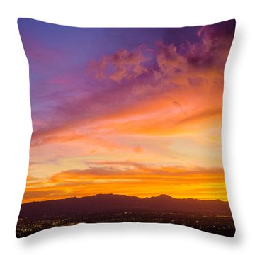 Sunset Behind The Wainae Mountain Range Throw Pillow by Aloha Art