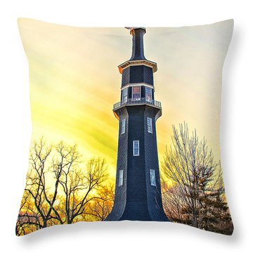 Sunset On The Dwight Windmill Throw Pillow by Thomas Woolworth
