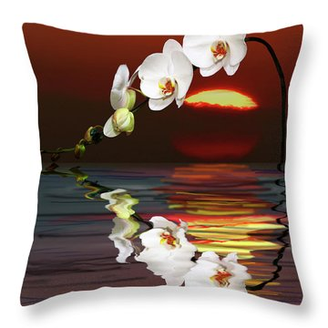 Sunset Orchids Throw Pillow by Angela A Stanton