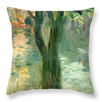 Sunset Over The Lake Bois De Boulogne Throw Pillow by Berthe Morisot