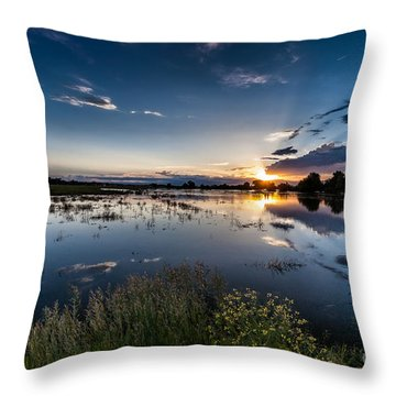 Sunset Over The River Throw Pillow by Steven Reed