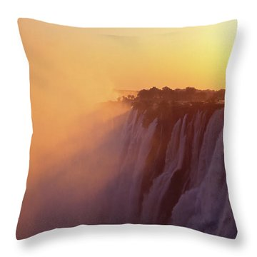 Sunset Over The Victoria Falls Throw Pillow by Alex Cassels