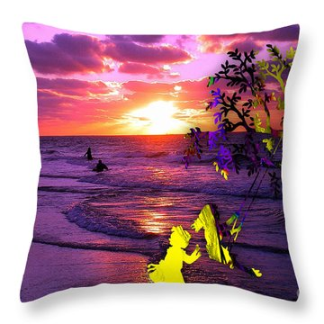 Sunset Over The Water While Children Play Throw Pillow by Marvin Blaine