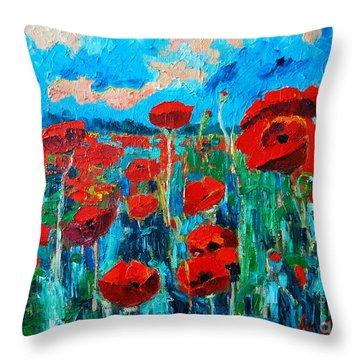 Sunset Poppies Throw Pillow by Ana Maria Edulescu