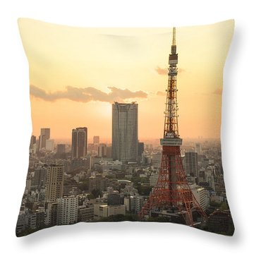 Sunset Tokyo Tower Throw Pillow by For Ninety One Days
