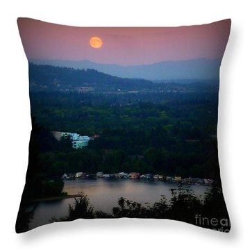 Super Moon River Throw Pillow by Susan Garren