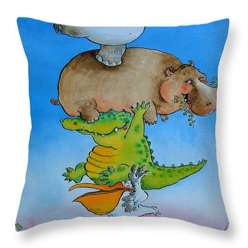Super Mouse Pen & Ink And Wc On Paper Throw Pillow by Maylee Christie