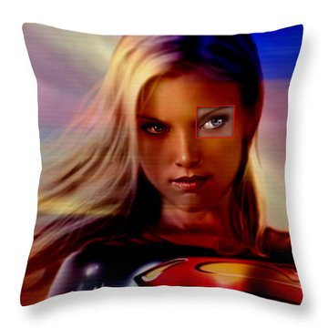 Supergirl Throw Pillow by Marvin Blaine