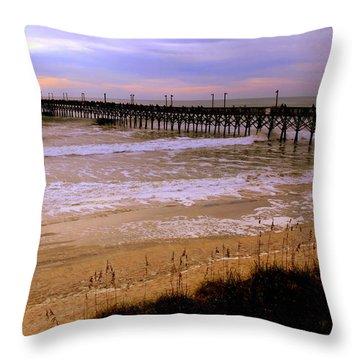Surf City Pier Throw Pillow by Karen Wiles